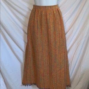 Vtg Doncaster orange thick weave maxi skirt